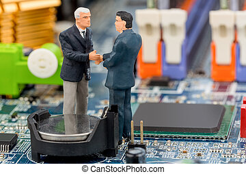 two managers on computer board - two managers talk on the...