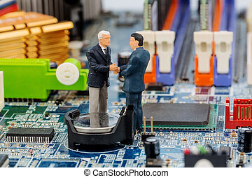two managers on computer board, symbol photo for computer...