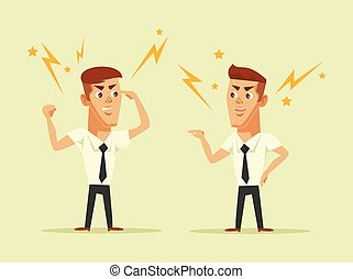 Two managers quarrel with each other. Vector flat cartoon illustration