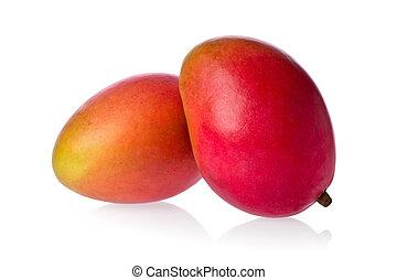 Two Mangos - Two whole mangos against a white background.