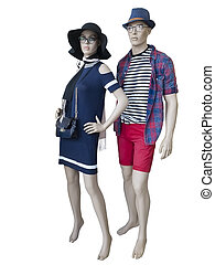 Two mannequins dressed in summer clothes.