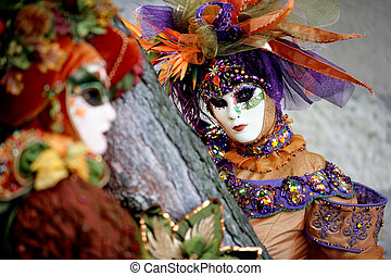 Two masks at the carnival