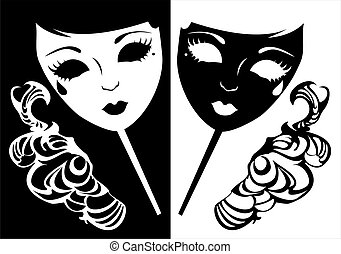 Two masks for a masquerade. - Vector illustration of two...
