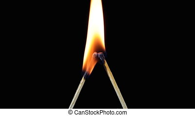 Two matches in the shape of the letter L are Lit and Burn on...
