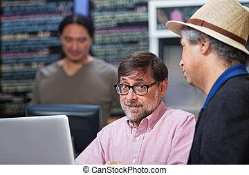 Two Mature Men Talking