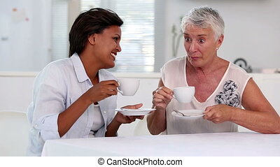 Two mature women gossiping during afternoon tea in the...