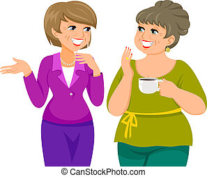 mature women - two mature women talking happily