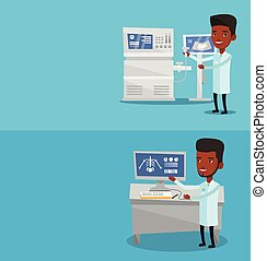 Two medical banners with space for text. Vector flat design. Horizontal layout. Operator of ultrasound scanning machine with ultrasound scanner in hand. Doctor working on modern ultrasound equipment.