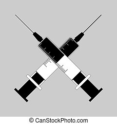 Two medical syringes with an injection intersect diagonally