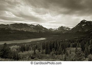 Two Medicine Lake, Glacier National Park - Black and White ...