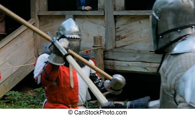 Two medieval knights fighting - Two militant medieval ...