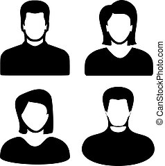 Two men and women black avatar profile picture set. Vector...