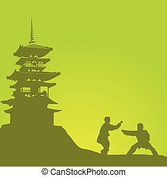 Two men are engaged in a kung fu against the monastery..eps...