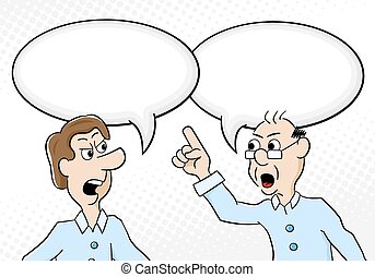 two men are of different opinion - vector illustration of...