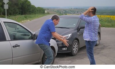 Two men arguing after car accident on the road car insurance. slow motion video. Two Drivers man Arguing After Traffic Accident. auto insurance lifestyle accident concept men
