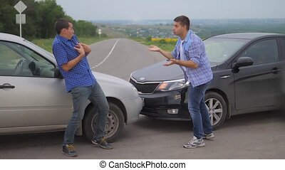 Two men arguing conflict after car accident on the road car insurance lifestyle. slow motion video. Two Drivers man Arguing After Traffic Accident. auto insurance accident concept men. Two men reporting a car crash for the insurance claim