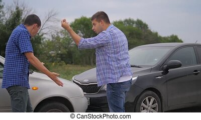 Two men arguing conflict after car accident on the road car insurance. slow motion video. Two Drivers man Arguing After lifestyle Traffic Accident. auto insurance accident concept men. Two men reporting a car crash for the insurance claim