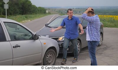 Two men arguing conflict after car accident on the road car insurance. slow motion video. Two Drivers man Arguing After Traffic Accident. auto insurance lifestyle accident concept men