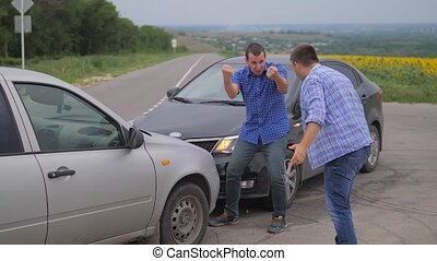 Two men arguing conflict after car accident on the road car insurance. slow motion video. Two Drivers man Arguing After Traffic Accident. auto insurance accident lifestyle concept men