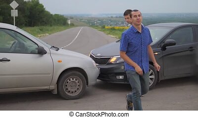 Two men arguing conflict after a car lifestyle accident on...