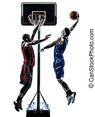 two men basketball players competition jumping dunking in...