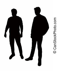 two men bodies silhouette vector