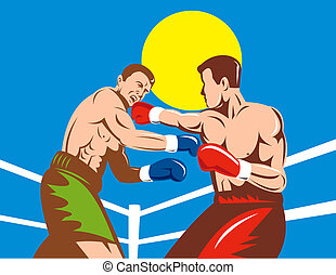 Two men boxing in a ring low angle - Illustration of two men...