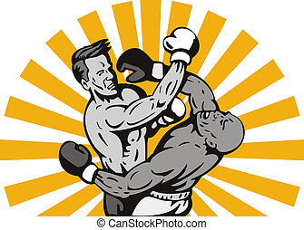 Two men boxing right cross - Illustration of two men boxing...