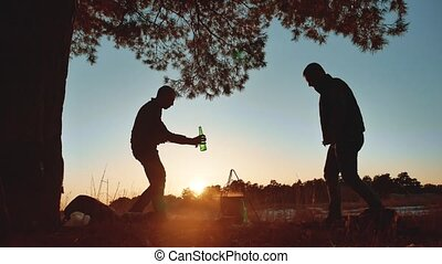 two men dancing camping at a party on nature fun funny...