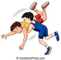Two men doing wrestling