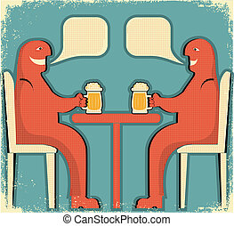 Two men drinking glasses of beer.Vintage poster