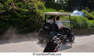 Two men driving by with a golf car