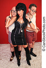 Two Men Fearfully Pose with Dominatrix