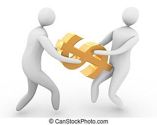 Two men fighting for golden dollar symbol. High Resolution ...