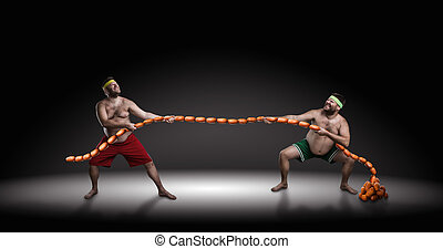 Two men fighting for sausages