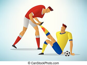 Two men football player First Aid From the initial injury