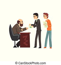 Two men giving money to get permission, official taking a bribe, corruption and bribery concept vector Illustration