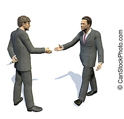 two men going to shake their hands