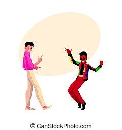 Two men, guys, Caucasian and black, at retro disco party