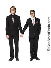 Two men holding hands