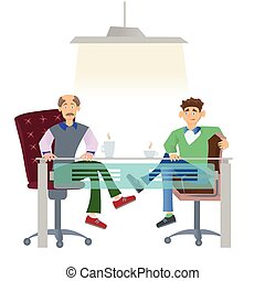 Two men in casual clothes sitting at office desk with a cup of coffee. Job interview or business meetings. Vector illustration, isolated on white.