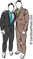 two men in elegant suits vector illustration