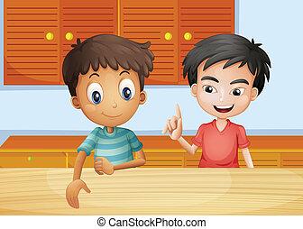 Two men inside the kitchen - Illustration of the two men...