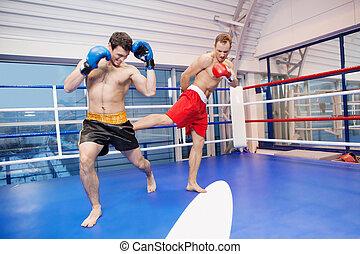 Two men kickboxing. Two men kickboxing on the ring