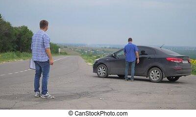 two men make a deal. man seller driver lifestyle makes car...