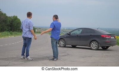 two men make a deal. man seller driver makes car lifestyle...