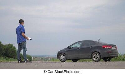 two men make deal. man seller driver makes car the auto...