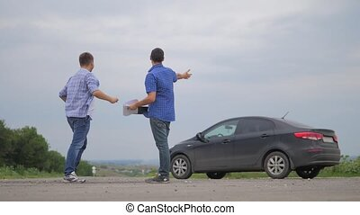 two men make deal. man seller driver makes car the auto...