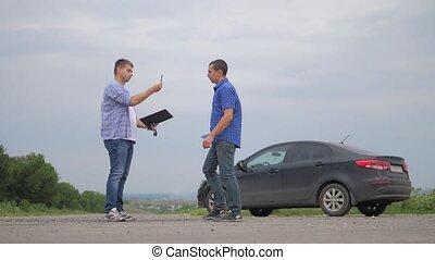 two men make lifestyle a deal. man seller driver makes car...