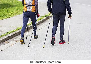 Two men nordic walking